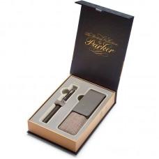 Подарочный набор из ручки Parker (Паркер) 5th Ingenuity Large Black Rubber CT и чехла