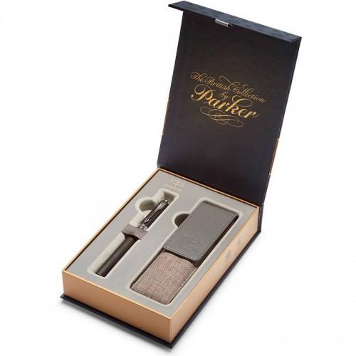 Подарочный набор из ручки Parker (Паркер) 5th Ingenuity Large Black Rubber CT и чехла в Самаре