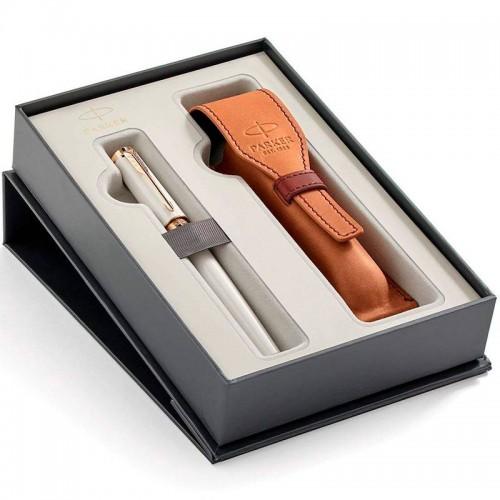 Набор с чехлом из натуральной кожи и ручкой Parker (Паркер) 5th Ingenuity Slim Pearl PGT M в Самаре