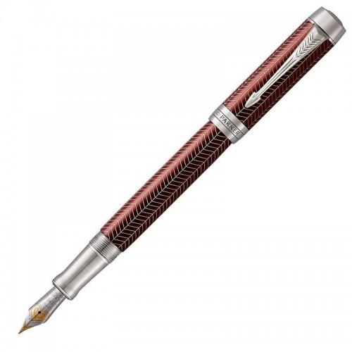 Перьевая ручка Parker (Паркер) Duofold Prestige Centennial Burgundy Chevron CT F в Самаре